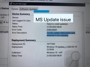 This image consists error code 0x8024000f obtained on a failed installation of MS update via SCCM.