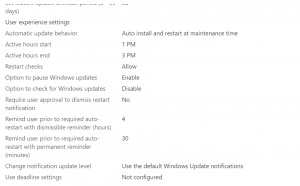 Update Settings - How To Manage Devices Community Forum - Welcome to the world of Device Management! This is community build by Device Management Admins for Device Management Admins❤️ Ask your questions!! We are here to help you! - Windows update are not installing at the maintenance window on the Intune enroll devices