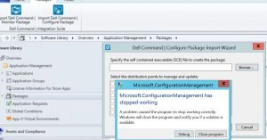 console crash error - How To Manage Devices Community Forum - Welcome to the world of Device Management! This is community build by Device Management Admins for Device Management Admins❤️ Ask your questions!! We are here to help you! - SCCM Console getting crashed when try to open an .exe in Dell command configure package